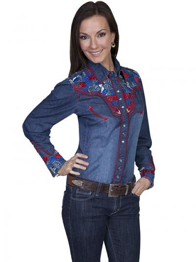 Scully Western Multi-color Floral Embroidered Shirt
