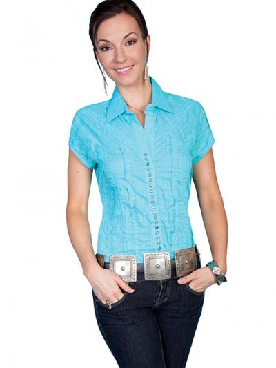Scully Western Lace Cap Sleeve Turquoise Blouse