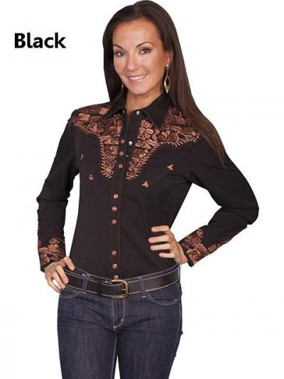 Scully Western Floral Embroidery Shirt