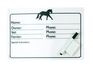 Horse Info Stall Plaque w- Dry Erase Pen  Model #409001