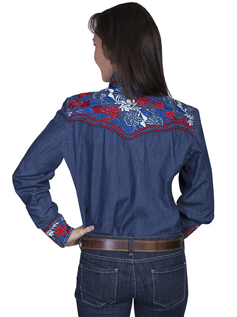 Scully Western Multi-color Floral Embroidered Shirt 1